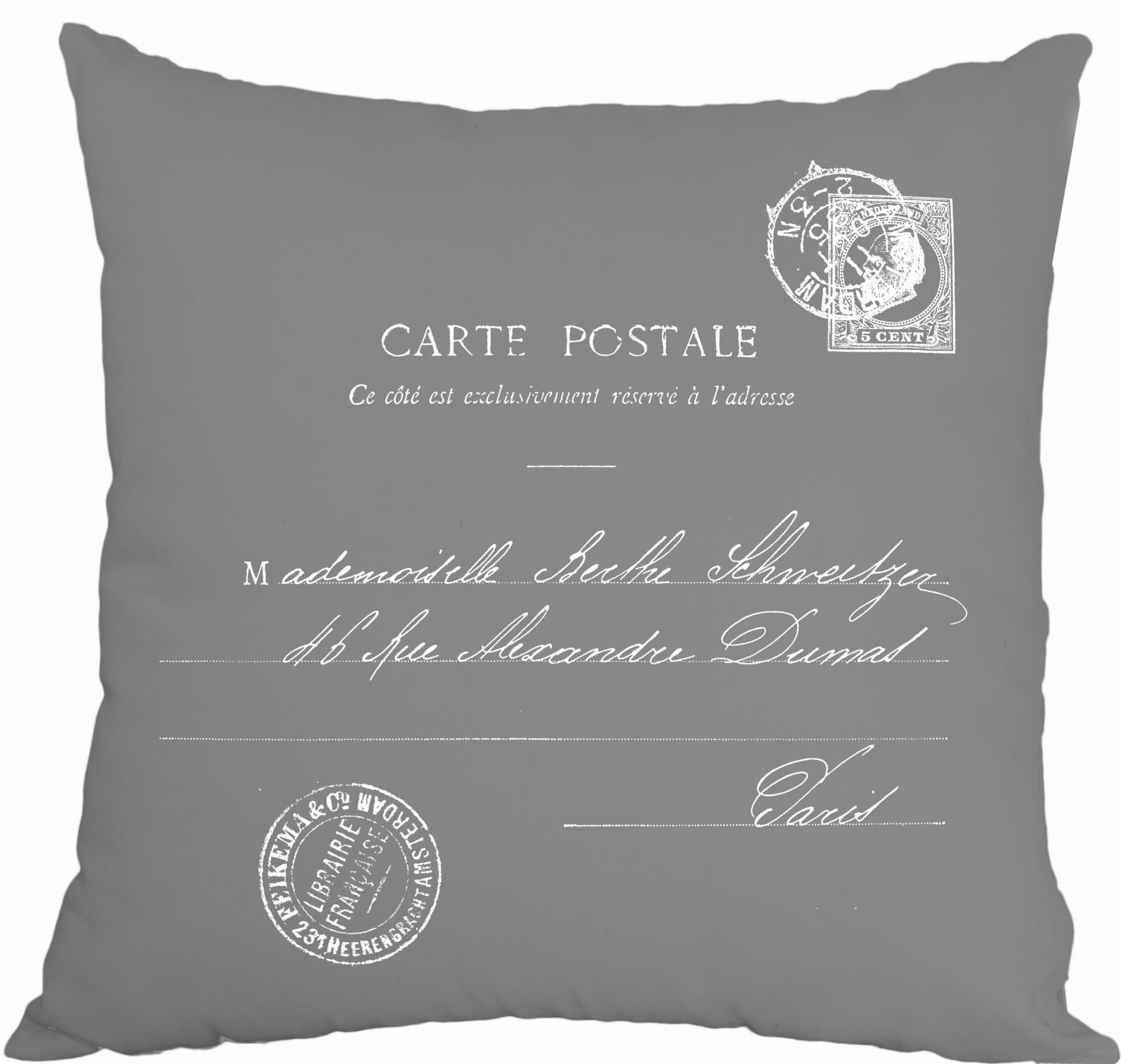 Poszewki Dekoracyjne Carte Postale French Home Szara