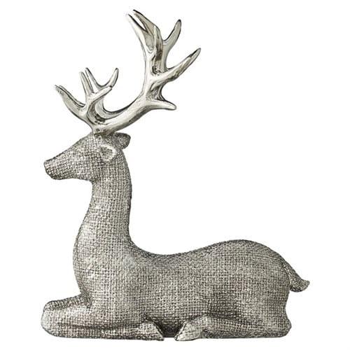 Dekoracyjna Figurka Jeleń 225 Cm Antyczny Srebrny